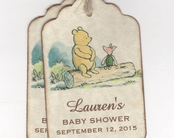 20 Winnie The Pooh Baby Shower Personalized Tags Or For Christening Birthday Party Favor Tags - Vintage Style