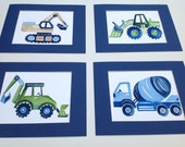 boys construction art - busy builder nursery art - children art prints - construction trucks artwork - construction wall art decor