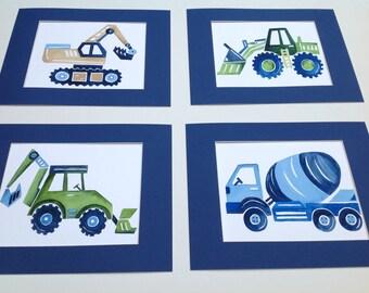construction art - busy builder nursery art - children art prints - construction trucks artwork - construction wall art decor
