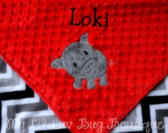Personalized baby blanket with name- pig baby blanket- red and charcoal grey chevron baby pig- 30x35 stroller blanket