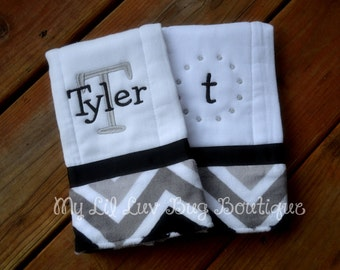 Personalized Burp cloth set prefold diaper- black with with grey chevron print- set of two