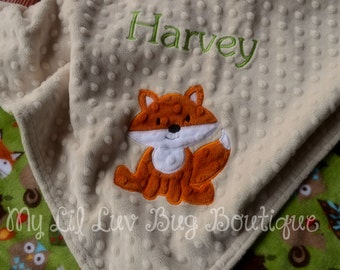 Fox baby blanket with name- Large personalized baby blanket- beige and rust baby fox- woodland animal stroller blanket with name