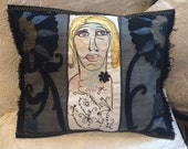 Emerge- Free Motion Embroidered Art Pillow created by Trish Vernazza of Visions of Venus