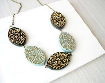 Black, Gold, and Turquoise Necklace - Beaded Jewelry, Etched, Vintage Beads, Antiqued Brass, Retro Chic, Blue