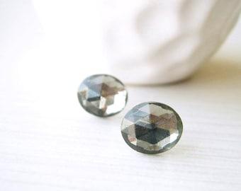 Gray Post Earrings - Nickel Free Posts,, Bridesmaids Gift, Vintage Glass Studs,Titanium, Grey