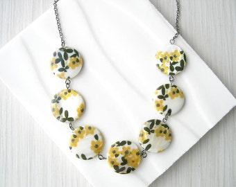 Mother of Pearl Necklace - Mustard Yellow Jewelry, Cottage Chic, Flowers, Floral, Black, Ivory, Simple, Multicolor, Shell, Romantic