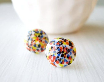 Confetti Earrings - Nickel Free Posts, Multicolor Studs, Multi color, White, Red, Blue, Orange, Black, Glass Jewelry, Artsy