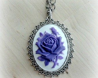 Purple Rose Pendant Necklace Cameo Jewelry Romantic Gift for Girlfriend Gothic Jewelry Cameo Necklace Gothic Necklace