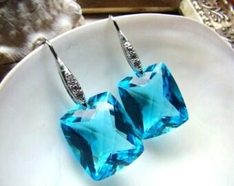 Luxury Aqua Blue Topaz Pave Sterling Silver Earrings