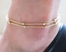 gold anklet, chain anklet, ankle bracelet, delicate anklet, thin anklet, beach anklets, beaded double chain, beaded anklet, layering anklet