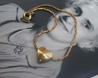 brass bracelet / heart jewelry / vintage heart / BRASS HEART BRACELET