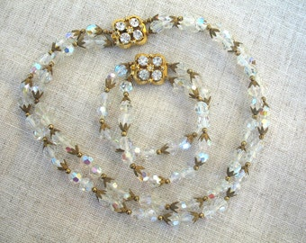 Vintage Capped Crystal Bead Necklace & Bracelet ~ Beautiful