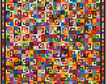 """CORNER BLOCK - Large King 112"""" x 112"""" or King 103"""" x 103"""" - Quilt-Addicts Pre-cut Quilt Kit or Finished Quilt"""