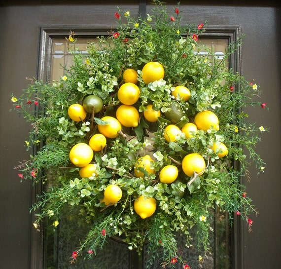 Lemon Wreath Spring Wreath Lemon Kitchen Decor Door Wreath Kitchen Wreath