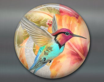 hummingbird art fridge magnet, bird magnet, hummingbird magnet kitchen decor, kitchen art, housewarming gift, stocking stuffer MA-1924