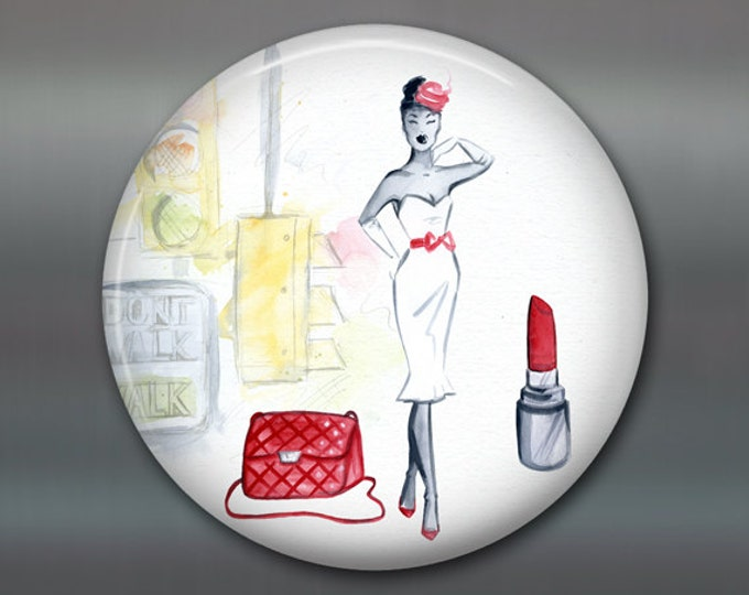"3.5"" fashion art magnet, new york, broadway decor womens fashion magnet kitchen decor, house warming gift, big magnet for fridge MA-FASH-4"