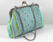 SALE Clutch in Blue Stripes and Flowers with Chain FREE SHIPPING