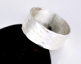 Sterling Silver Hammered Band Ring, Band Rings, Textured Silver Rings, Wedding Band Rings, JewelryByNaomi