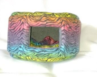 Small Custom Cozy Pet Bed - Multi-Colored Zebra