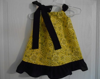 Pillowcase cowgirl dress bandana yellow with your choose of tie and ruffle infant through 6 years choose