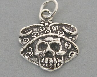 CALAVERA CATRINA Sugar Skull Sterling 925 Charm Day of the Dead Halloween 4482