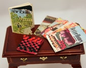 Dollhouse Magazines Miniature Board Game Checkers Library Accessory