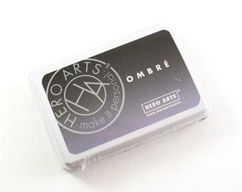 OMBRE black to grey Ink Pad - black ombre ink for scrapbooking & paper crafts - acid free, waterproof, permanent on most papers