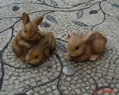 Vintage Brown Bunnies Figurines - Homco Collectible - Sweet