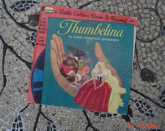 a Little Golden Book & Record Thumbelina by Hans Christian Andersen - Disneyland Record - Rare