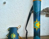 Archery Leather Set Hand Tooled Blue Leather Yellow Sun