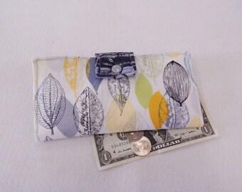 Nature Wallet, Grey Clutch, Womens Wallet, Batik Vegan Wallet, Handmade Wallet, Made in Maine USA