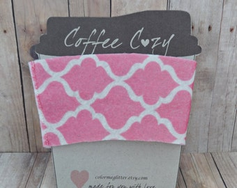 Felt Cup Sleeve Pink and White Lattice Print - Drink Sleeve - Coffee Cozy
