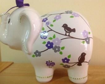 Personalized Large Elephant Piggy  Bank Flowers Cherry Blossom grey/ purple - Newborns , Birthday,Girls ,, Flower Girl,Baby Shower Gift