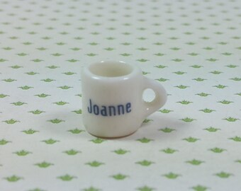 """MINIATURE COFFEE MUG, """"Joanne"""", White Porcelain with Blue Printing, 1/2"""" Tall, Vintage Dollhouse, Charm, Jewelry, Personalized Gift"""