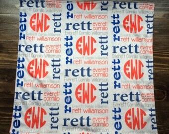 Personalized Minky Lovie Blanket with Monogram