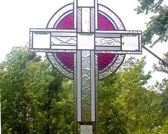 He Has Risen' -  Large Stained Glass Cross / Crucifix / Suncatcher