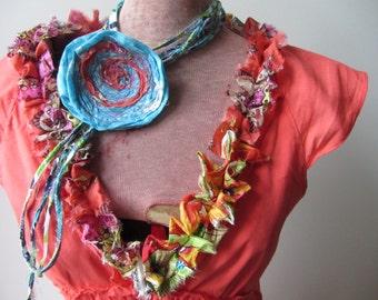 Coral V Neck Dress, Empire Waist Dress, Orange Dress, Tattered Ruffle Dress, Tropical Beach Dress, Altered Clothing, Upcycled Dresses