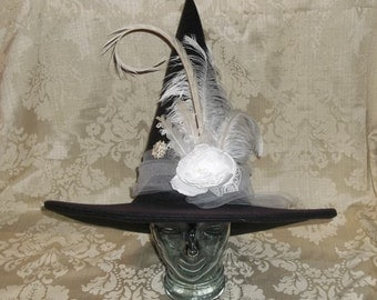 Fancy Black/White Witch Hat- Black Felt Hat with White Flower, Rhinestone Brooch and Feathers