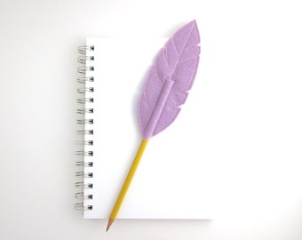 Purple Feather Pencil Topper Quill Writer Wool Blend Felt, As Seen in Canadian Family Magazine