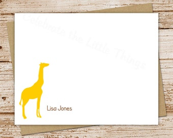 PRINTABLE personalized notecards . giraffe note cards . personalized stationery . FLAT stationary . custom silhouette . You Print