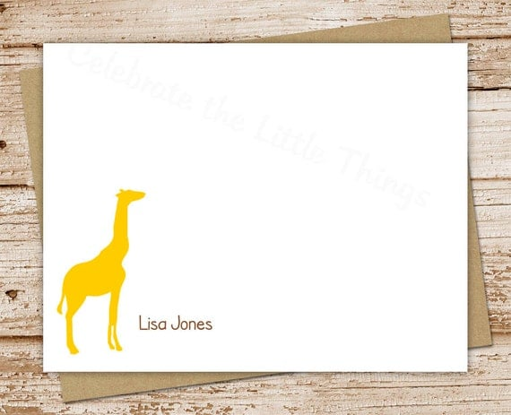 personalized notecard set . giraffe note cards . personalized stationery . FLAT stationary . custom silhouette . set of 10