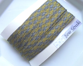 Gold gray and silver trim. metallic and art silk, narrow, 5 metres