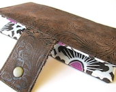 Handmade wallet brown faux tooled leather - floral #5 - women clutch brown - Custom order - brown flowers with magenta