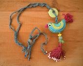 crochet bird necklace with tassel, maroon, turquoise,