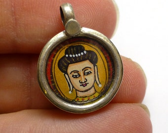 Lakshmi Hindu Goddes Pendant Sterling Silver 925 Indian India Miniature Painting Focal Bead One of a Kind Rare Jewelry Gold Leaf Flute