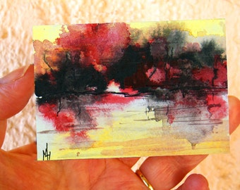 Original abstract landscape ACEO painting - Miniature art trading card, original ATC, 2.5 by 3.5 in - Lake Sunset 1 - watercolour and ink