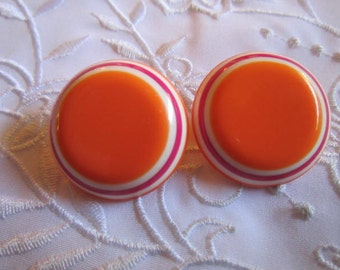 Vintage Orange, Cranberry and White Round Clip On Earrings