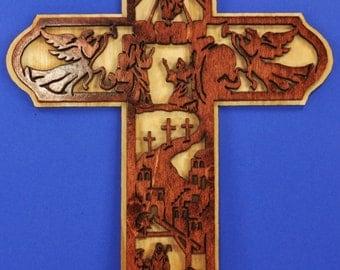 Medium Wood Life of Jesus Cross
