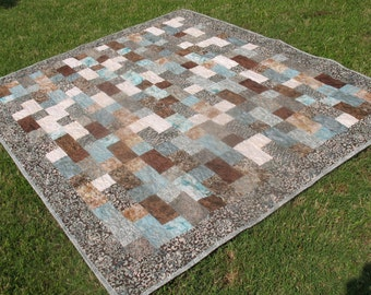 Turquoise and Brown Batik Twin Size Quilt