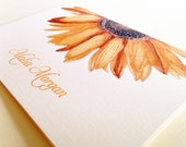 Personalized Stationery, Sunflower Note Cards, Set of 8